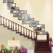 MOLBAB Large Wood Photo Frames Stairwell Gallery Wall 32PCS/Set Modern Flat Border Wooden Picture Frame Home Stairway Decoration(China)