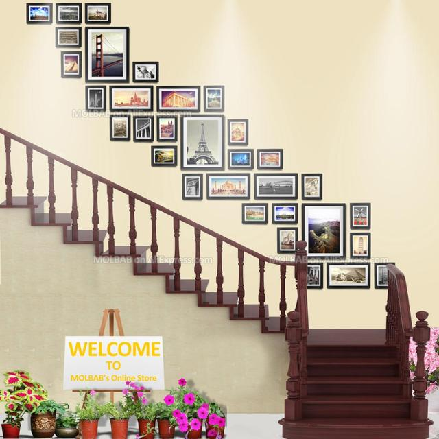 MOLBAB Large Wood Photo Frames Stairwell Gallery Wall 32PCS/Set ...