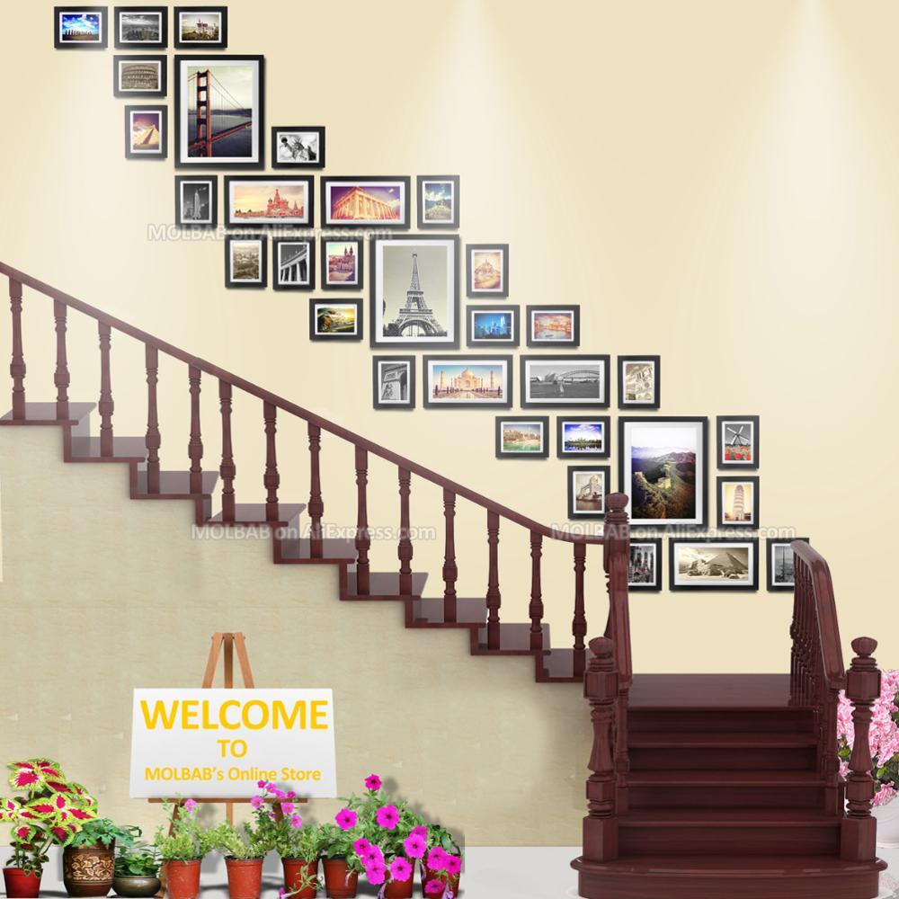 € 192.06 |MOLBAB grands cadres Photo en bois escalier galerie mur 32  pièces/ensemble moderne bordure plate en bois cadre Photo maison escalier  ...
