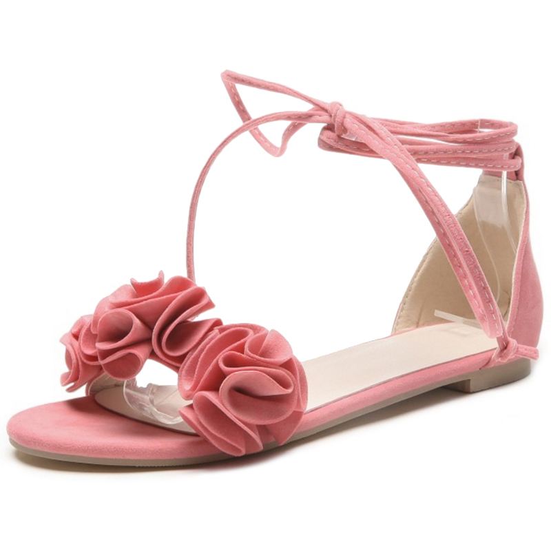 SJJH Woman Gladiator Lace up Sandals with Flat Heels Flowers Cute Flock Footwear Casual Roman Sweet Shoes Large Size A612 in Women 39 s Sandals from Shoes