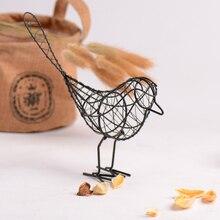 Сад кованого железа птица украшения подарок ремесла металла проволока железная птица дома гостиной украшения черный и белый 8A2150