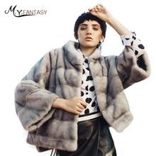 M.Y.FANSTY 2017 Shuba Bat Sleeved Real Fur Coat Short Loss Shawl Mink Coat Women's Winter Mandarin Collar Swan Velvet Mink Coat