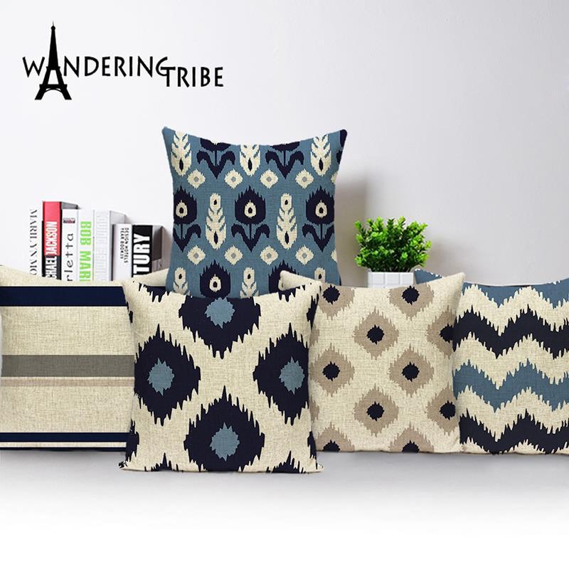 Pop Geometric Pillow Cover Blue Nordic Cushion Home Decoration Pillowcase Scandinavian Sofa Cushions Linen Print 45*45Cm 30*50Cm-in Cushion Cover from Home & Garden on Aliexpress.com | Alibaba Group
