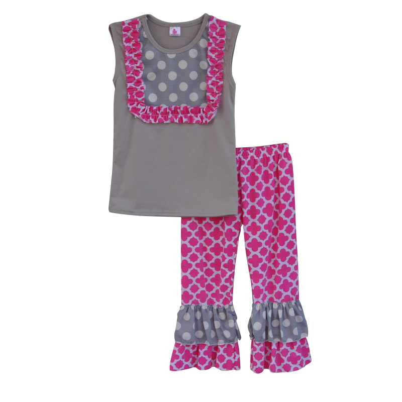 New Arrival Girls Boutique Clothing Set Contrast Color Grey Sleeveless Top Pink Ruffle Pants Geomatrical Pattern Outfit S067 maison jules new junior s small s pink combo lace crepe contrast trim dress $89