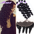 7A Indian Virgin hair Loose Wave Curly Weave Human Hair With Closure Ear to Ear Lace Frontal Closure With Bundles Ali Moda Hair