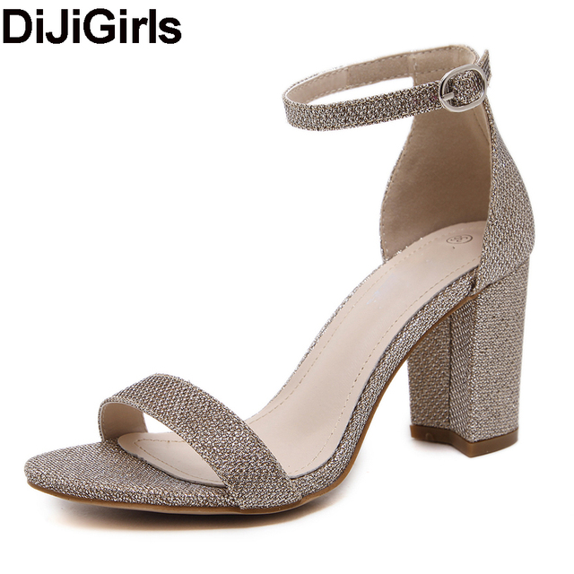 DiJiGirls 2017 new women summer square thick high heel wedding dress shoes woman ankle strap sequined black silver pumps sandals