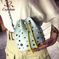 Новое прибытие заклепки способа цепи кожа pu вскользь женщин ведро плече сумка сумки мини crossbody сумка 2 цвета