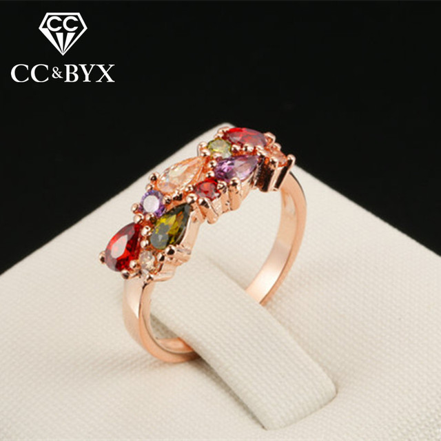Cc Jewelry Ring For Women Fashion Colorful Champagne Gold Color Rings Bride Wedding Engagement