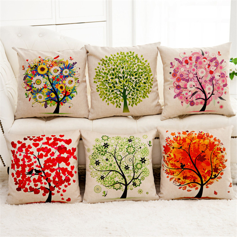 Green red colorful tree with flower plant Cushion Cover Pillow Cover Sofa Bed home coffee shop club chair Decorative for gift