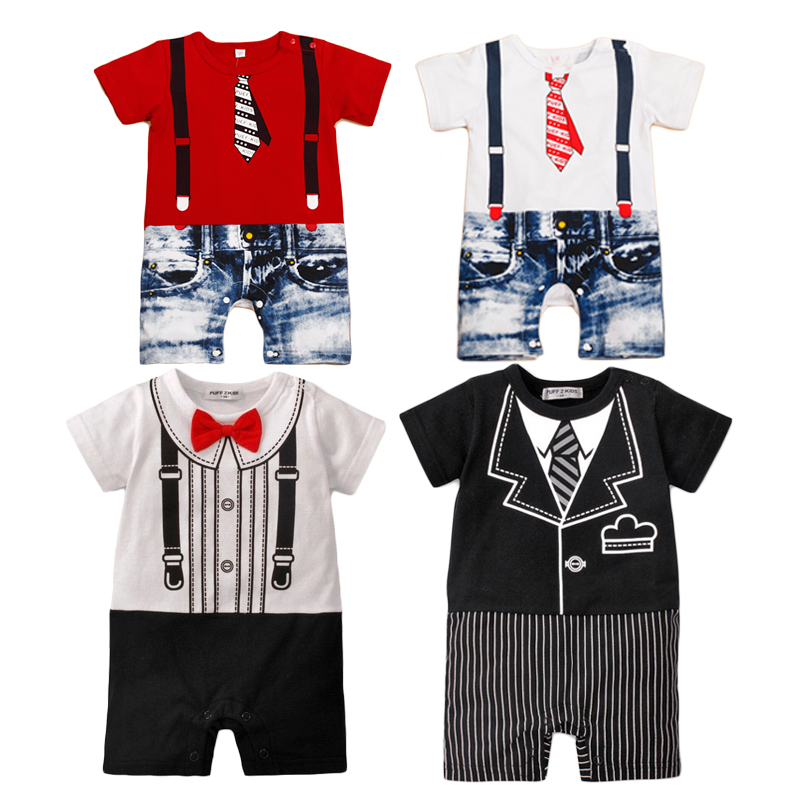 Baby Boy Clothes Cotton Baby Rompers Short Sleeve Baby Boy Clothing Set Summer Newborn Clothing Gentleman Kids Clothes baby set baby boy clothes 2 pieces