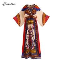 Foamlina Elegant Ethnic Print Long Dress Women Fashion Summer Boho Style V neck Batwing Sleeve Casual Holidays Beach Maxi Dress