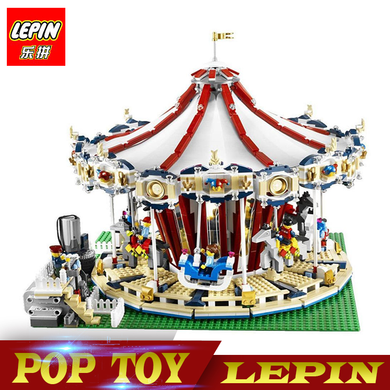 New Lepin 15013 City Street Carousel Model Building Kits Assembling Blocks Toy Compatible legoed with 10196 Educational toys new lepin 16009 1151pcs queen anne s revenge pirates of the caribbean building blocks set compatible legoed with 4195 children