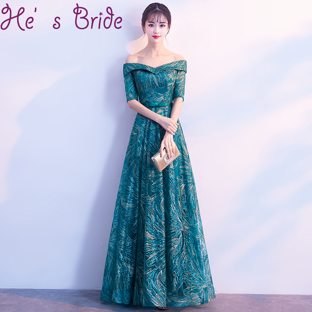 evening dress elegant dark green boat neck half sleeves lace up back a line  floor length tulle lace sequines party prom dress a430b7a0f145