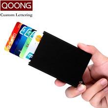 купить QOONG High Quality Men Women Metal Credit Card Holder Automatic Pop Up Card Sets Business Aluminum Card Wallet Passport Holder недорого