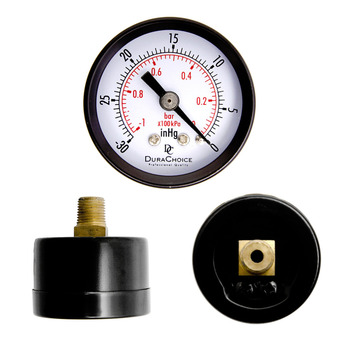 Dial Dry Vacuum Pressure Gauge Meter Double Scale manometer Stable Performance 1-1/2inch Dial Size Copper Alloy Crimped Casing Measuring Tools
