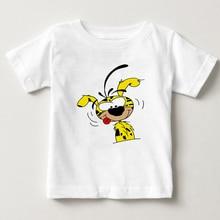 Детская летняя белая футболка с короткими рукавами, футболка с таинственным длинным хвостом и леопардовым принтом, футболка для мальчиков и девочек