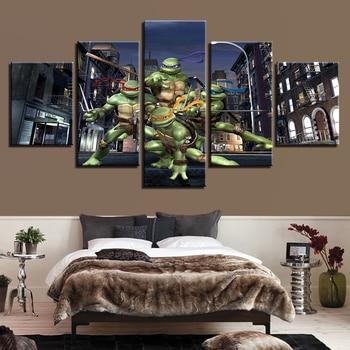 Современный холст домашний Декор стены искусства плакаты 5 панель подростков мутант ниндзя черепашки гостиная фотографии с печатью высоко...