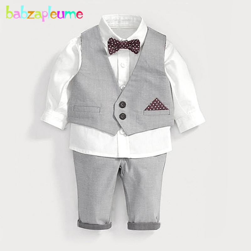 3PCS/Spring Autumn Children's Clothes Fashion Gentleman Baby Boys Suit Vest+White Shirt+Pants Boutique Kids Clothing Sets BC1600