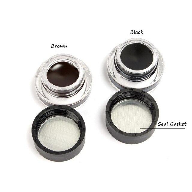 Music Flower Brown +Black 2 In 1 Eyeliner Gel Waterproof Make Up Thick Smooth Eye Liner Cream Long-lasting With 2 Makeup Brushes 1