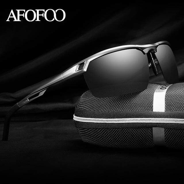 AFOFOO homens de Alumínio E Magnésio Polarizada Óculos De Sol Da Marca do Desenhador Dos Homens de Condução Espelho Masculino óculos de Sol UV400 Shades Eyewear