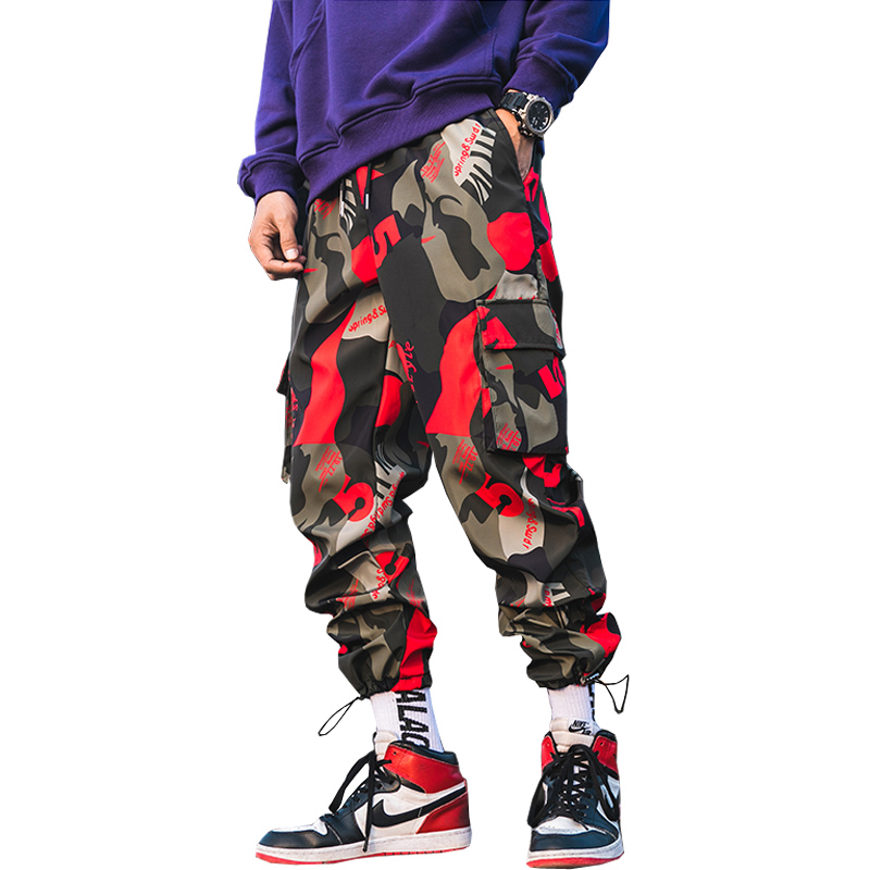 2019 New Men Camouflage Cargo Pants Men Street Harem Pants Fitness Runners Trousers Comfortable Ankle Length Sweatpants LBZ44