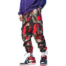 Calça cargo camuflada masculina, calça harém fitness para homens, confortável, no tornozelo, lbz44, 2020