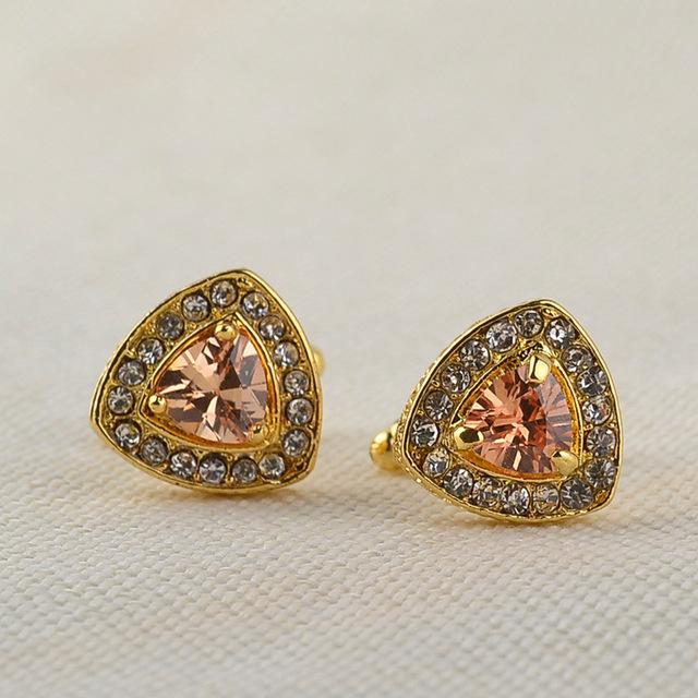 Jewelry High-grade Crystal Men's Enamel Luxury Cufflink Rhinestones French Cuff Gold Color Cufflinks Zircon