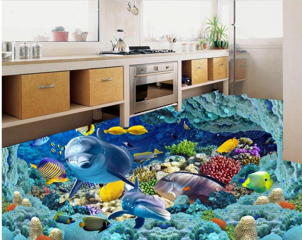 US $21 0 OFF Dekorasi Rumput Laut Dolphin 3D Lantai Lukisan 3d Pvc Wallpaper Lantai Wallpaper 3d Untuk Kamar Mandi Floor Wallpaper Pvc