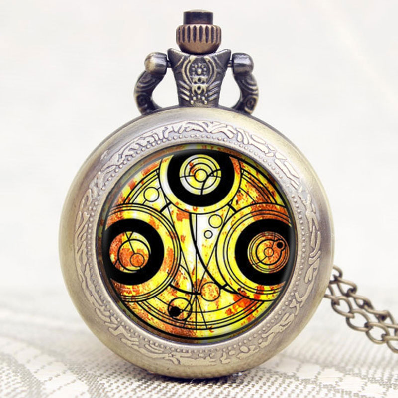 Retro Vintage Doctor Who Inspired Time Lord Seal Pocket Watch Quartz Necklace Chain Mens Women Best Gift retro doctor who time lord seal quartz pocket watch with dr who symbols glass dome pendant necklace chain box dad top gifts set