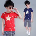 2016 Kids Summer new boys suits nice cotton all-match short sleeved two piece children sets A400