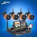Plug & Play 4CH WIFI Sistema de Vigilancia de Vídeo + 7LCD Pantalla y 720 P HD Al Aire Libre + Cubierta Impermeable IR Cámaras de CIRCUITO CERRADO de TELEVISIÓN inalámbrico Móvil APP