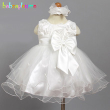babzapleume summer baby girls baptism party dresses cute flower bow tutu white infant christening birthday wedding dress BC1523