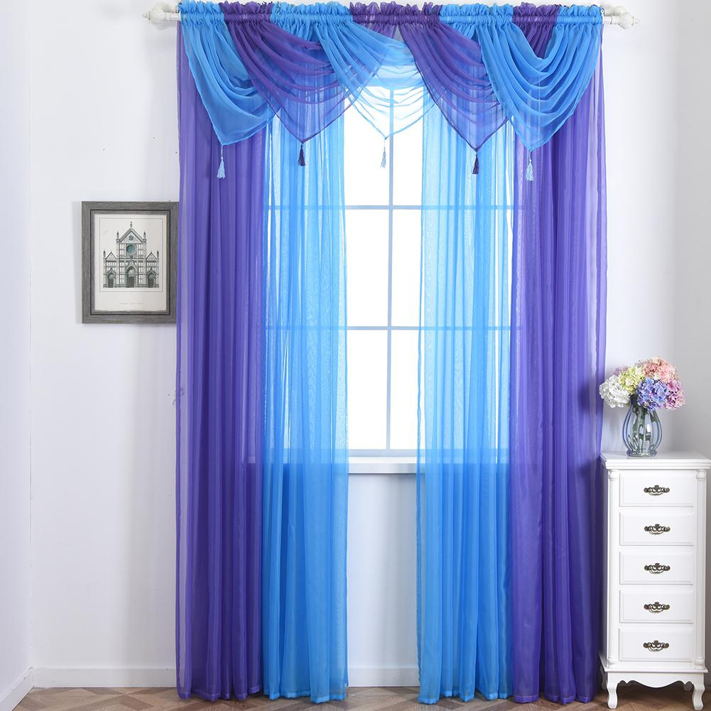 Lanlan Solid Color Translucidus Curtain Swag For Living Room Home