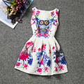 Hot 2016 Children's Day Dress Summer 2016 Girls Dresses Owl Prints Dress Children Butterfly Pattern Clothes Teen Dress Robe Jurk