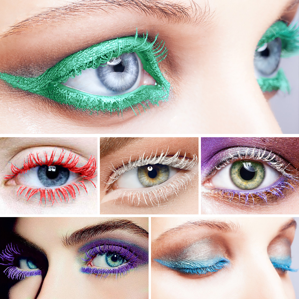 HUAMIANLI Colorful Green Blue Mascara Waterproof Lengthening Curling Eye Lashes Silicone Women Professional Makeup 3D Mascara 5