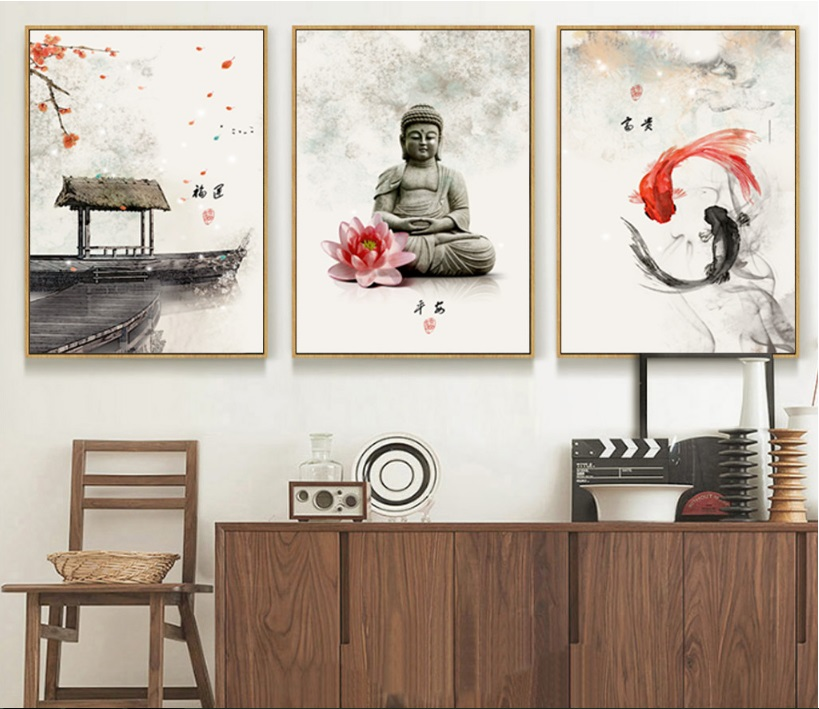 New Chinese ink Flowers Buddha 3 Pieces Wall Art Print Picture Canvas Painting Poster for Living Room No Framed