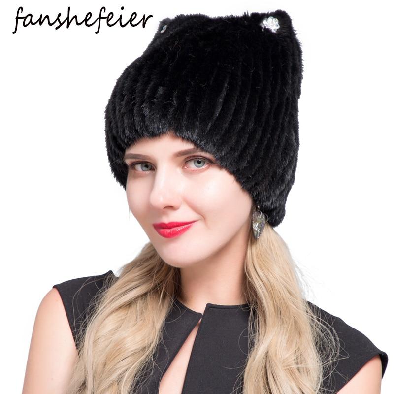 Fanshefeier High Quality Beanies Women Cat Ear Warm Knit Beanies Real Mink Fur Hat Female Fashion Fox Fur Winter Hats For