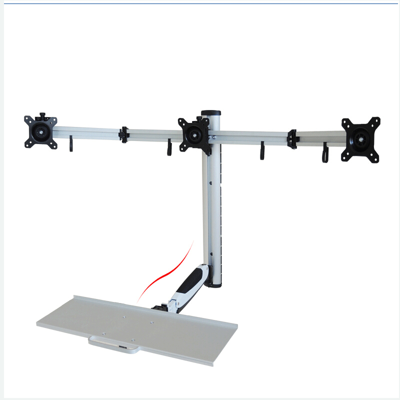 360 degree gas spring aluminum triple screen wall mount sit stand workstation ps stand 3 monitor holder with keyboard trayin monitor holder from computer