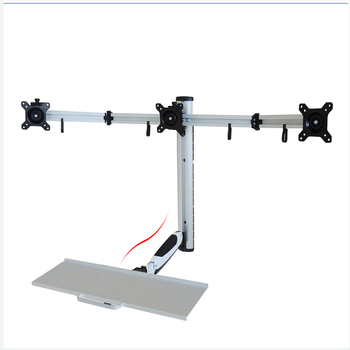 360 Degree Gas Spring Aluminum Triple Screen Wall Mount Sit-Stand Workstation PS Stand 3 Monitor Holder With Keyboard Tray
