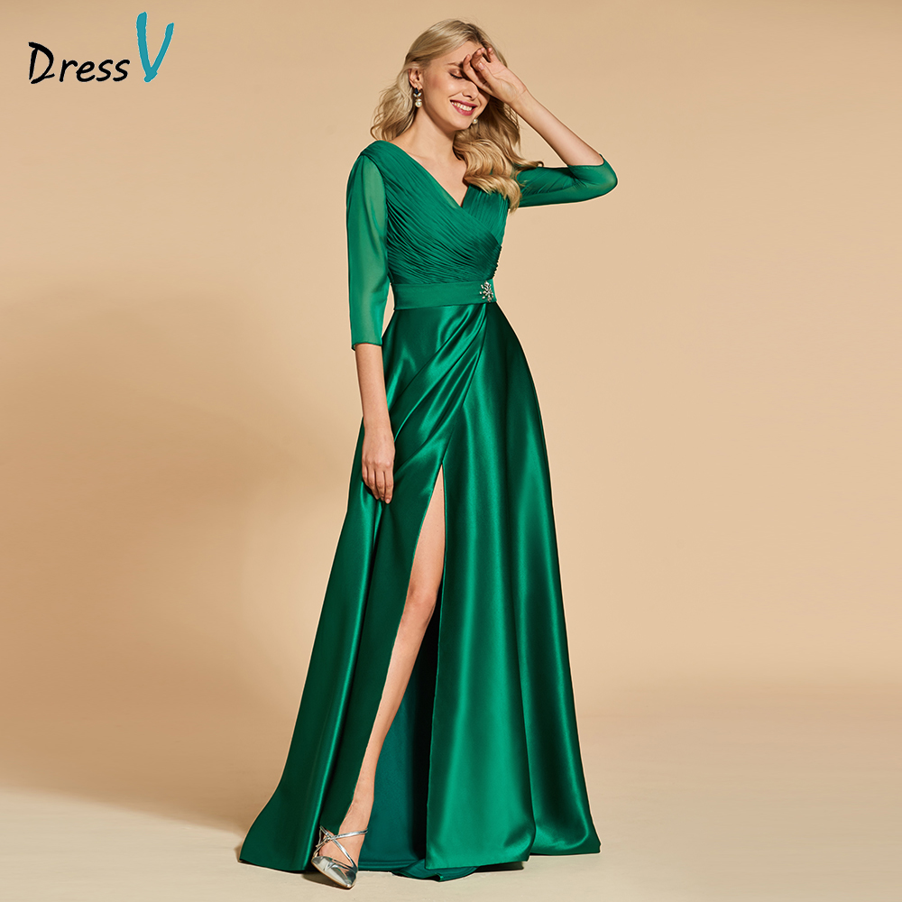 Платье бирюзовое вечернее платье с v-образным вырезом, ТРАПЕЦИЕВИДНОЕ элегантное платье длиной до пола с рукавами 3/4, с карманами, торжестве...