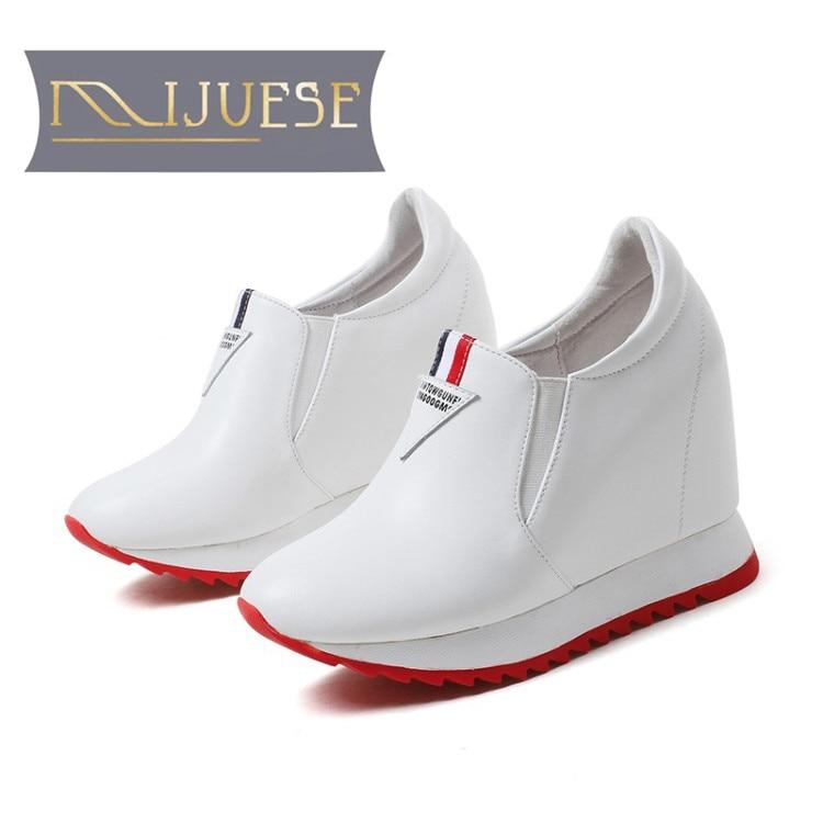 MLJUESE 2018 women pumps cow leather slip on increased Internal high heels platform pumps boat shoes