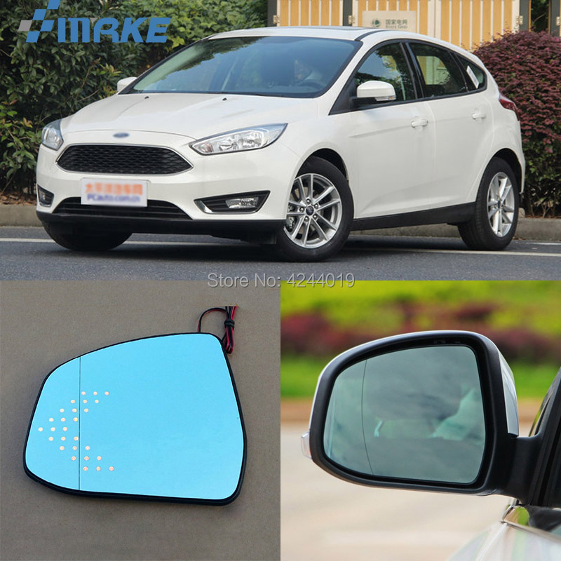 smRKE For Ford Focus Car Rearview Mirror Wide Angle Hyperbola Blue Mirror Arrow LED Turning Signal Lights