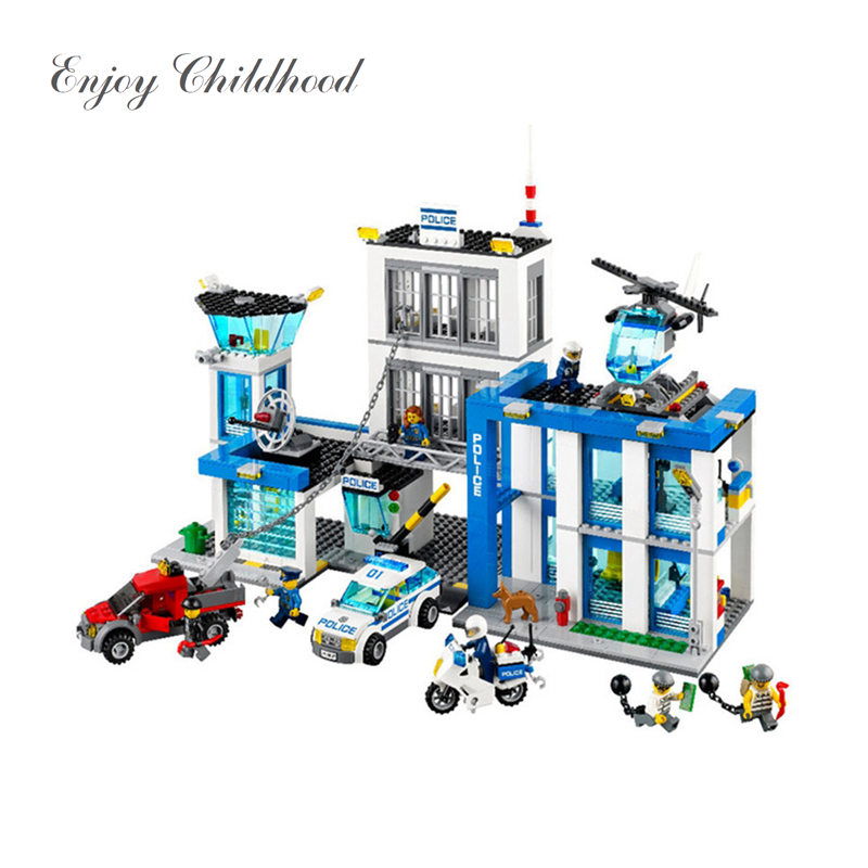 Juguetes Educativos 890Pcs 10424 City Police Station Building Blocks Action Figures Set Helicopter Jail Cell Bringuedos