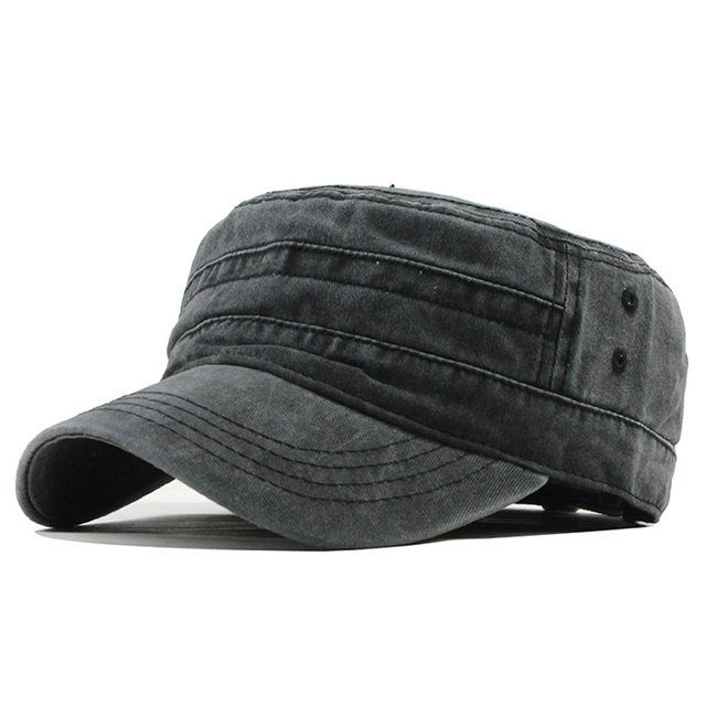 [FLB] 2019 Classic Vintage Flat Top Mens Washed Caps And Hat Adjustable Fitted Thicker Cap Winter Warm Military Hats For MenF314 1