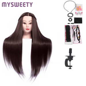 New Professional Bride Hairdressing 24 Inch Mannequin Dolls Long Hair Training Head Long Synthetic Thick Hair Mannequin Head(China)