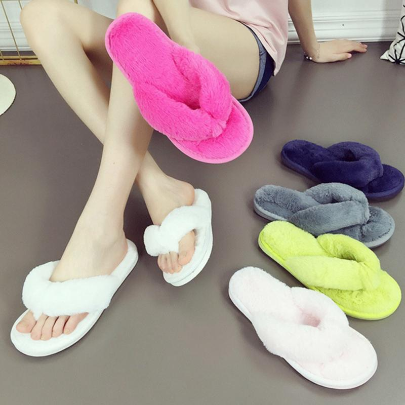f55a4afe81f5 Packing list  1   Non-slip Flip Flops Shoes. Plush Anti Skid Flip Flop  Clamps Cotton Slippers Women s Warm Spa Thong ...