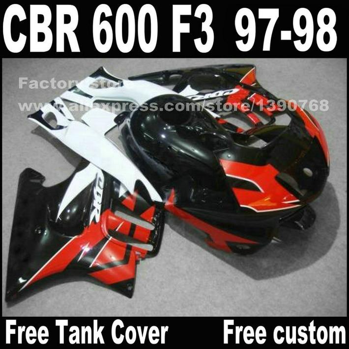 Motorcycle parts for HONDA CBR 600 F3 fairings 1997 1998 CBR600 F3 97 98 black white fairing kit plastic sets  D1