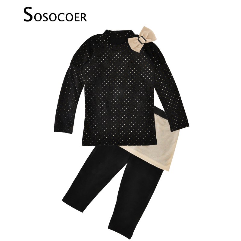 SOSOCOER Kids Girl Clothing Sets Autumn Bow+Polka Dot T Shirt+Pants With Skirt 3pcs Baby Clothes Fashion Cute Girls Clothing Set bear leader autumn girls clothes baby girl clothing sets flower bow cute suit kids long sleeve top t shirt pants 2pcs