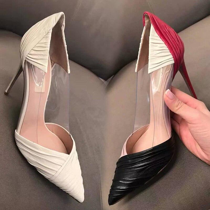 ФОТО dames schoenen pumps women shoes 2017 fashion thin heels toe color block decoration shallow mouthfashion spring pointed