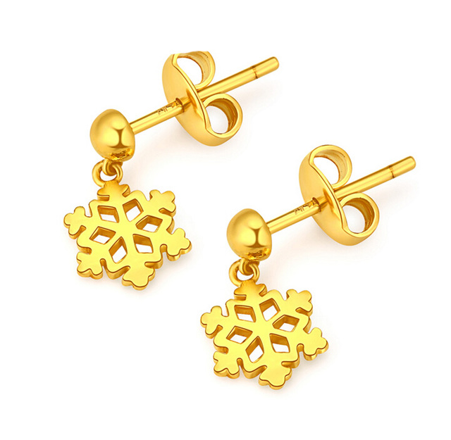 Pure 24K Yellow Gold Snowflake Dangle Earrings 2.67g